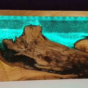 Resin and Wood Lamp - Landscape
