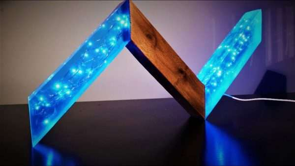 Resin and Wood Lamp - ZigZag